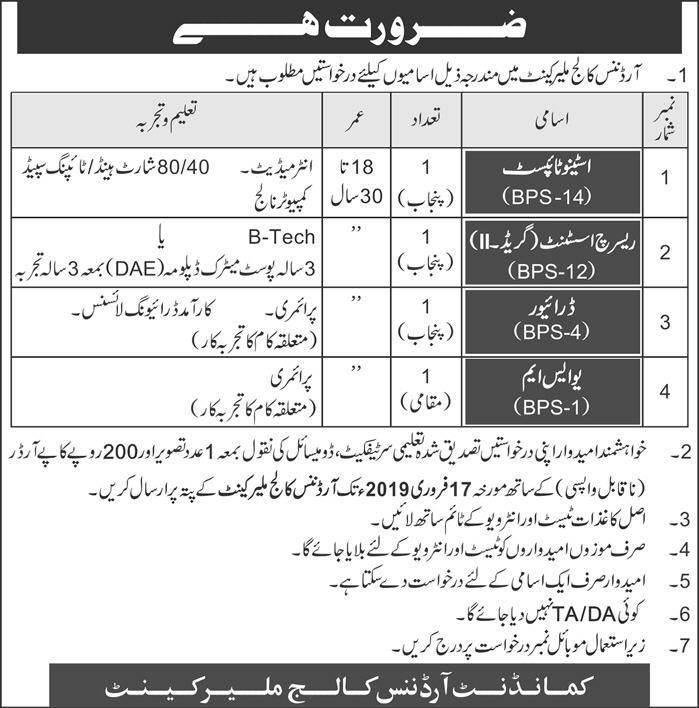 Jobs Vacancies In Ordinance College Malir Cantt 27 January 2019