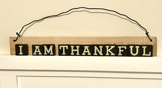 I am Thankful sign from vintage Anagram game tiles sign