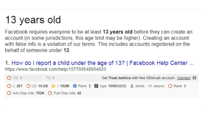 Face-book-minimum-age-16-required