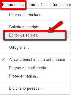Editor de Scripts do Google Docs