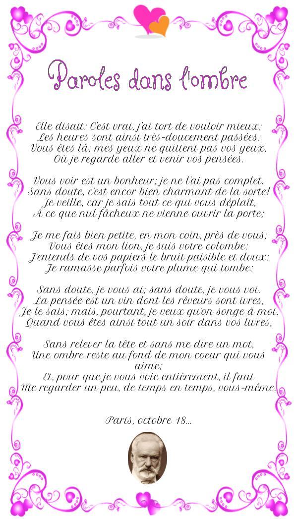 Poème : Paroles dans l'ombre de Victor Hugo