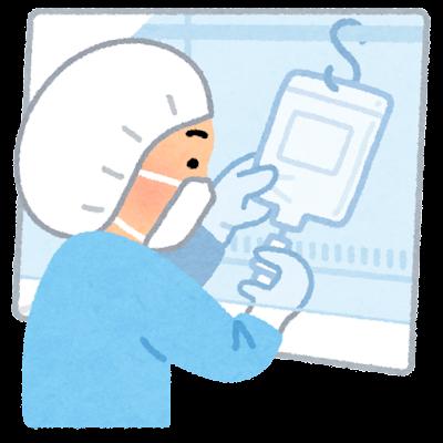 安全キャビネットを使う薬剤師のイラスト