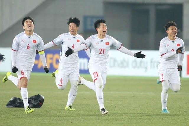 Đội tuyển U23 Việt Nam trong ngày chiến thắng trận bán kết