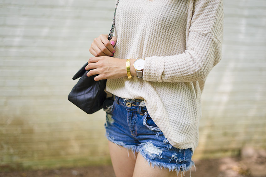 Pieces of Me Dreamer Cuff Bracelet, Socialite thermal top, zara ripped shorts, cluse la boheme watch