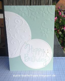 """Marions Geburtstagkarte mit stampin up produkten auf susis basteltipps demonstratorin in coburg hat mich davon überzeugt, dass ich """"Watrercolor Wings"""" dringend wieder zur Hand nehmen muss..."""