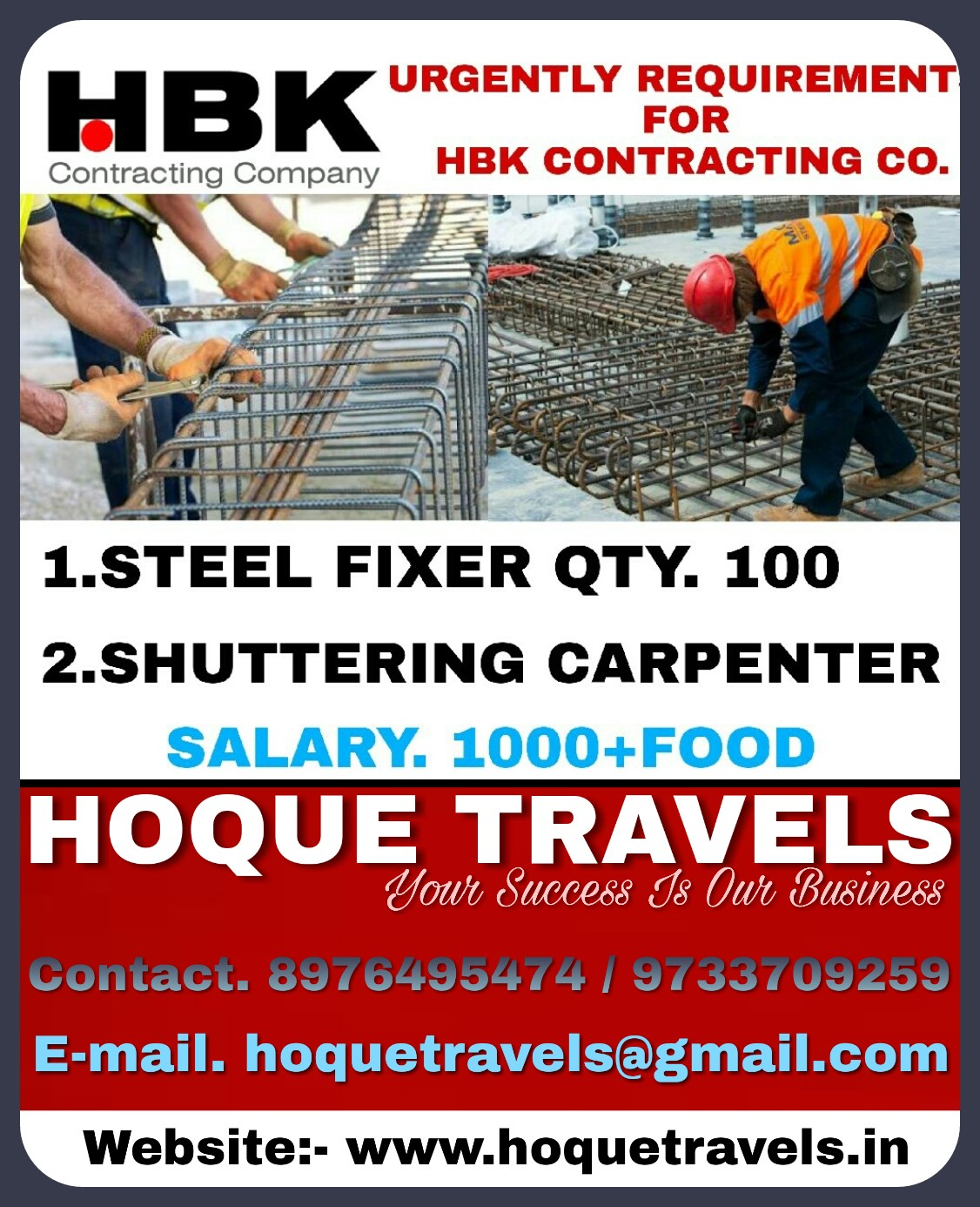 URGENTLY REQUIREMENTS FOR HBK CONTRACTING COMPANY IN QATAR
