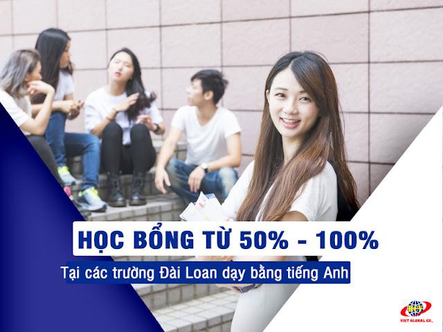 Du học Đài Loan: Các trường dạy bằng tiếng Anh có học bổng từ 50 – 100%