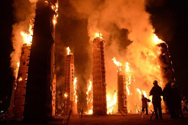 Taimatsu Akashi - fire festival | November 11, Sukagawa-City, Fukushima