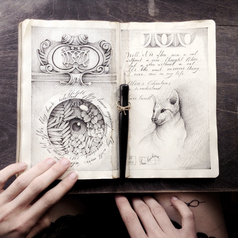 11-Elena-Limkina-Moleskine-Illustration-Adorned-with-Lovely-Calligraphy-www-designstack-co