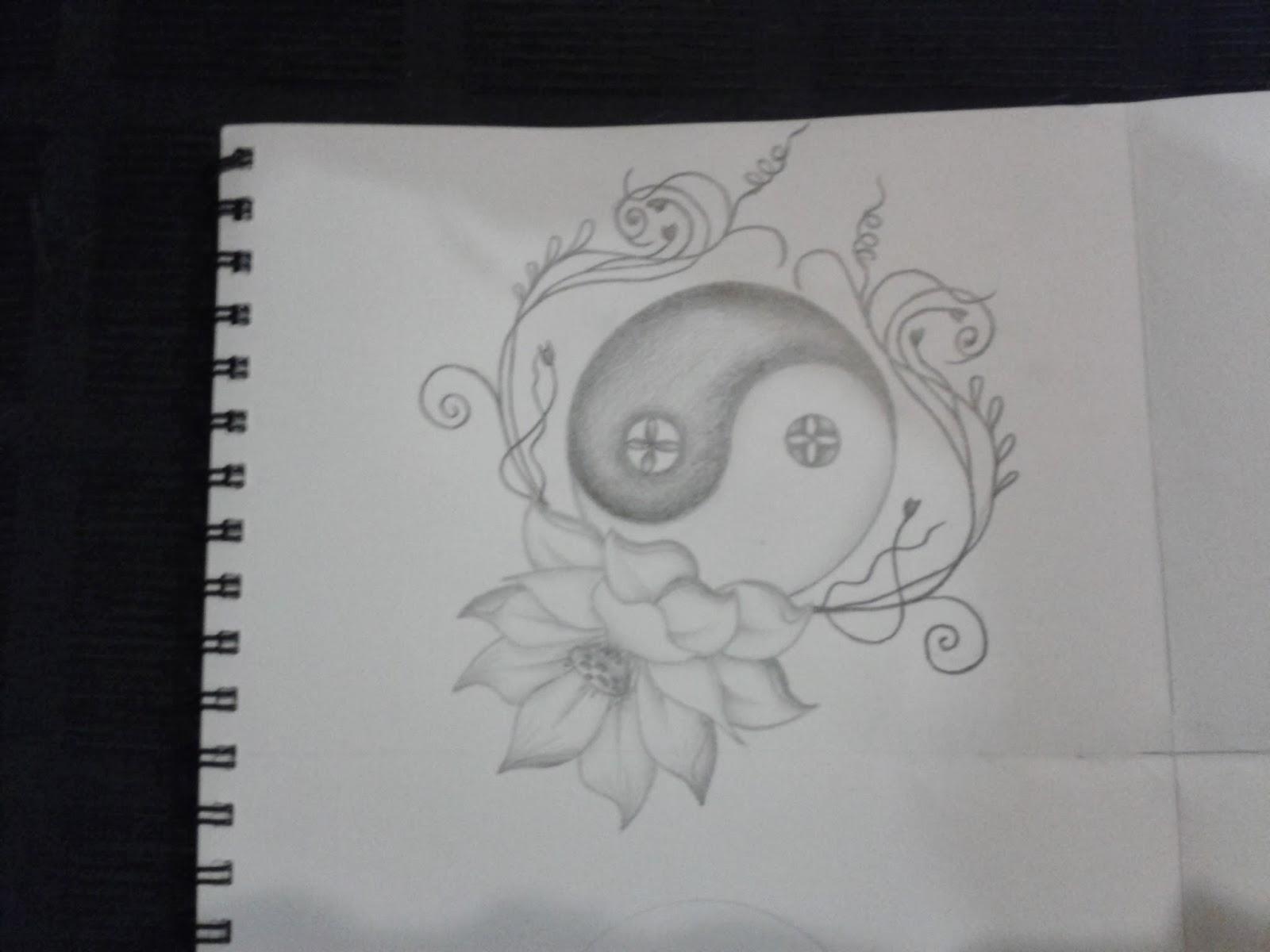 R3dwall Art Lotus Floweryin Yang Tattoo Design