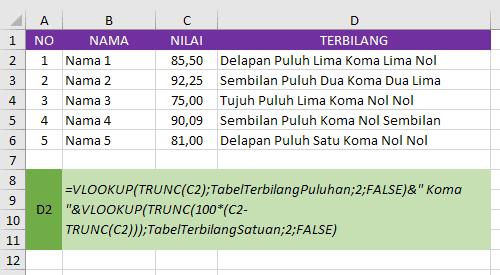 Terbilang Vlookup Excel Satuan Koma Puluhan