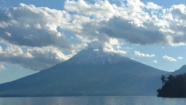 Andean volcano - covered in clouds