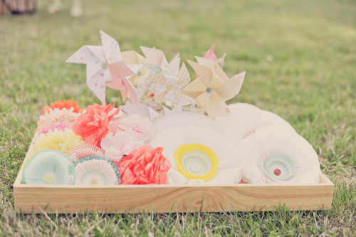 Summer Pastel Party Inspiration from Sweet Lulu - I am obsessed with this cupcake liner flowers bicycle basket