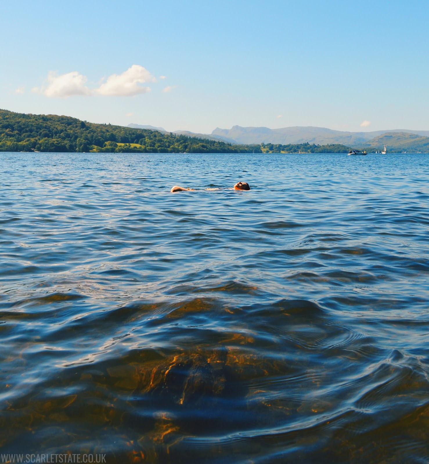 underwater rocks, floating in lake windermere