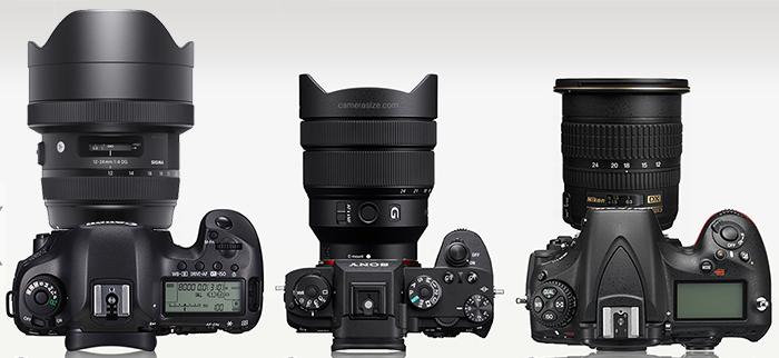 Сравнение габаритов Sigma 12-24/4, Sony 12-24/4 и Nikon 12-24/4