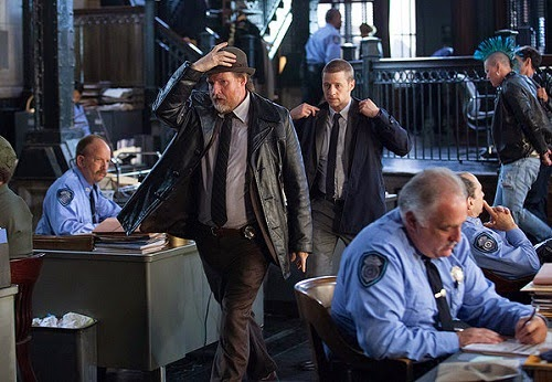 Ben McKenzie and Donal Logue as Detectives James Gordon and Harvey Bullock at the Gotham Police Department building in Gotham Season 1 Episode 3 The Balloonman