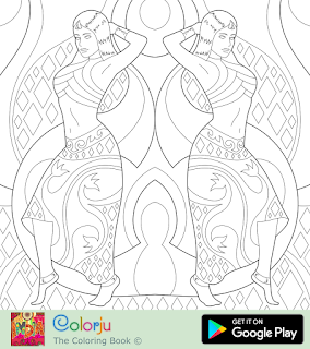 Free two Indian  bollywood actresseses dancing symmetric coloring pages