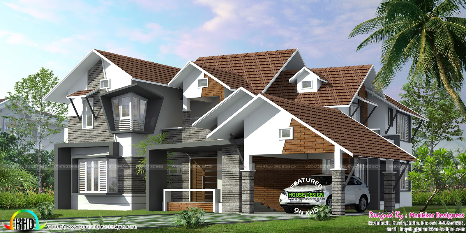 Sloping roof ultra modern home kerala home design and for Ultra modern home plans