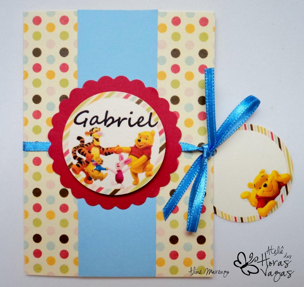 convite artesanal ursinho pooh colorido infantil aniversário