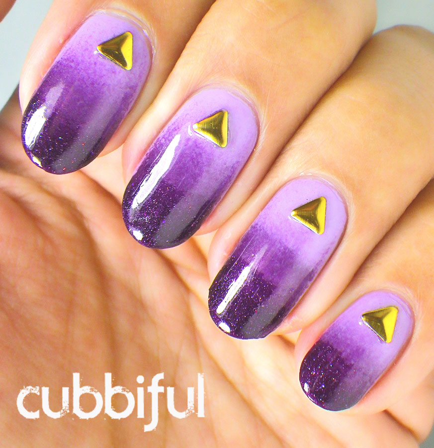 purple gradient nails with gold studs
