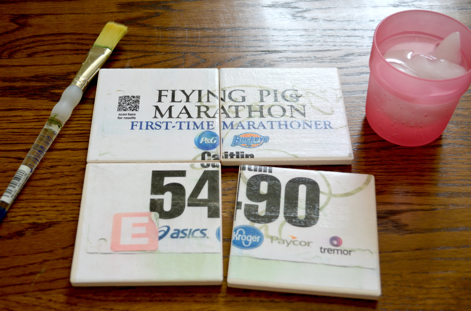 cozy birdhouse | DIY race bib coasters