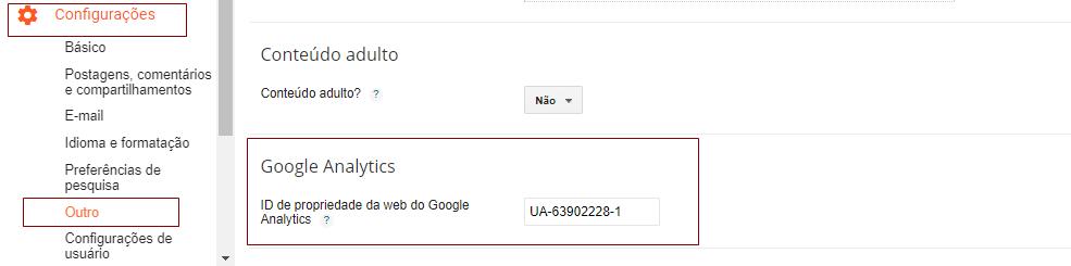 Como adicionar o ID de propriedade do Google Analytics no Blogger