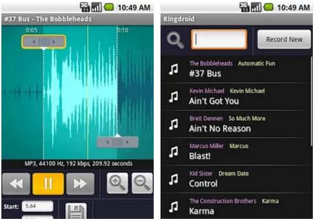 تحميل برنامج صانع النغمات للاندرويد Ringdroid for android