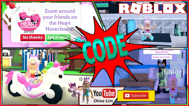Roblox Adopt Me Gameplay! I got the Valentines Heart Hoverboard and THE UNICORN CYCLE and Icecream stroller!