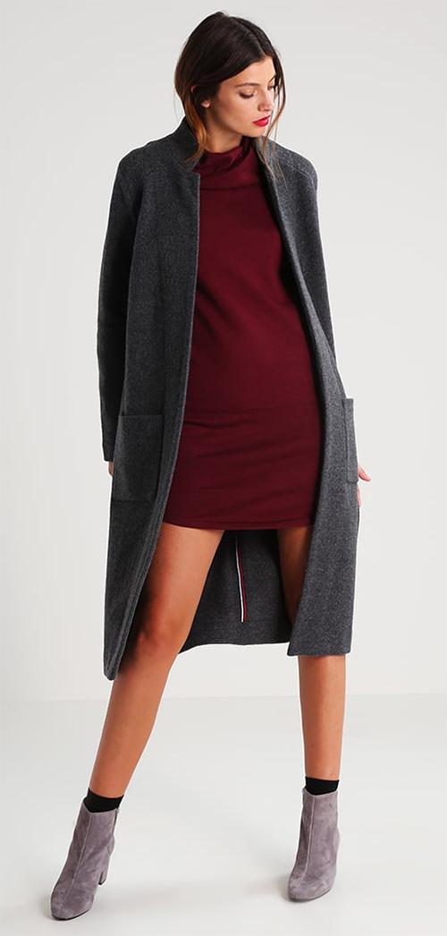 Manteau femme hiver en laine gris chiné Hilfiger Denim