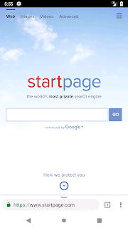 screenshot of virtual phone showing Startpage.com in a browser, Android Studio
