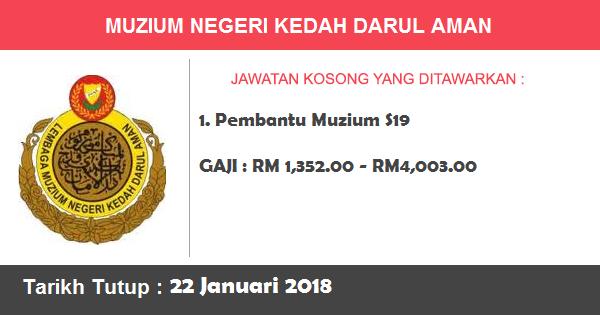Jawatan Kosong di Muzium Negeri Kedah Darul Aman