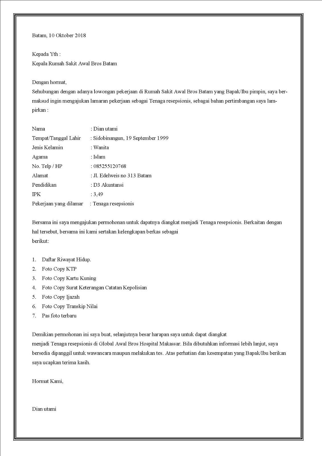 contoh surat lamaran kerja di rumah sakit sebagai resepsionis