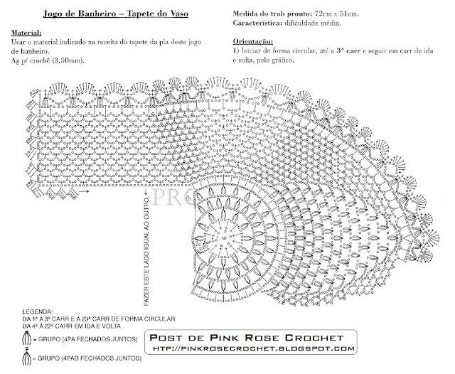 Jogos de Tapetes de Croche Para Decorar Banheiro Com Receitas e Gráficos 35