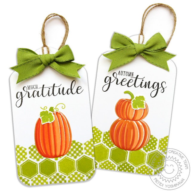 Sunny Studio Stamps: Pretty Pumpkins & Autumn Greetings Fall Gift Tags by Mendi Yoshikawa