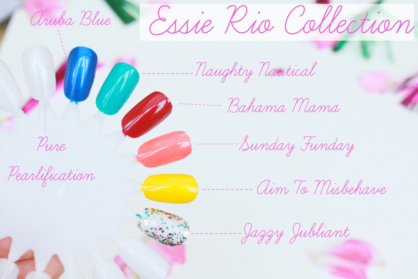 Beauty, Essie, Essie rio collection, nails, nail polish, Drugstore, essie rio collection, essie rio nails, nail swatches,