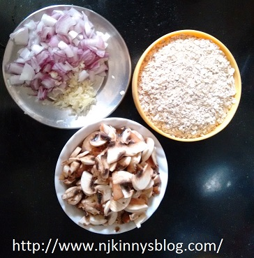 Low oil Oats Creamy Mushrooms Recipe ~ Healthy and Tasty