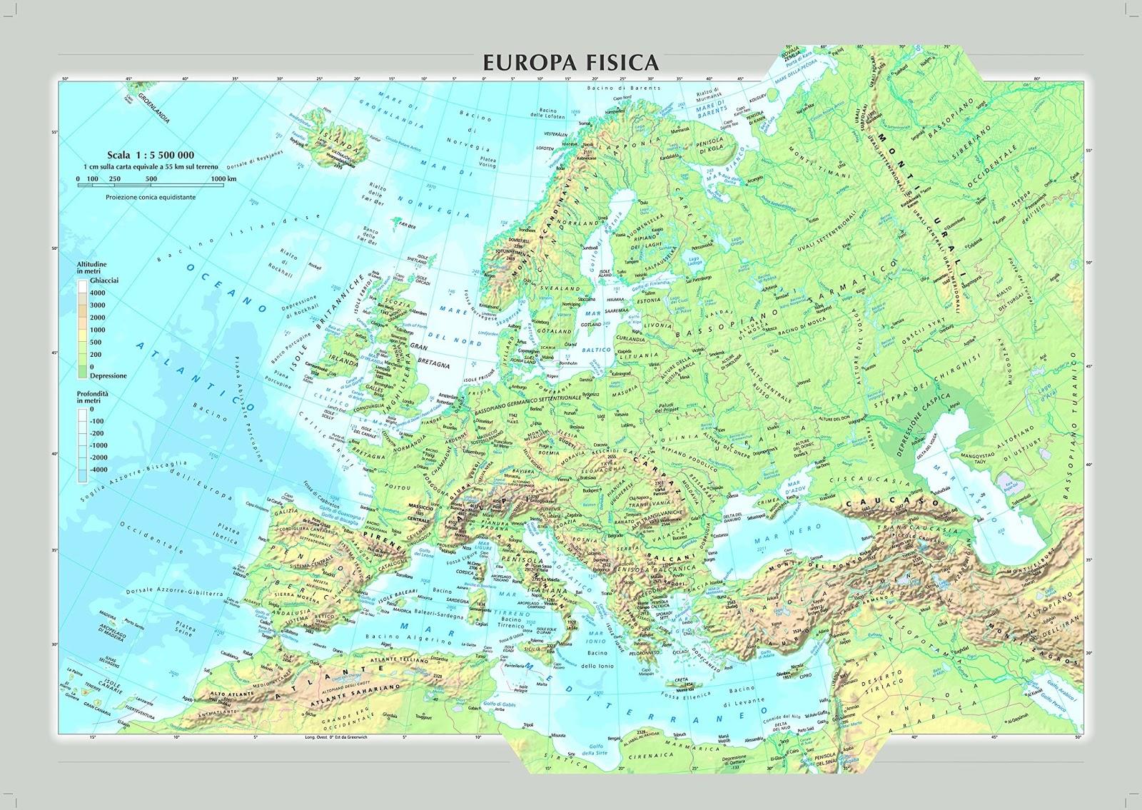 Cartina Muta Dell Europa Fisica.Terza B Don Minzoni 2019 2020 Geografia La Carta Fisica Dell