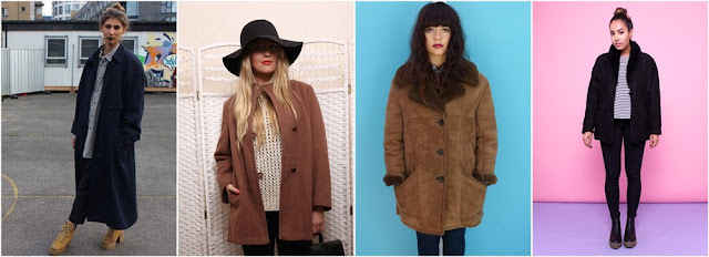1. Long blue coat  2. Camel colored wool coat  3. Sheepskin shearling coat brown  4. Sheepskin shearling coat black