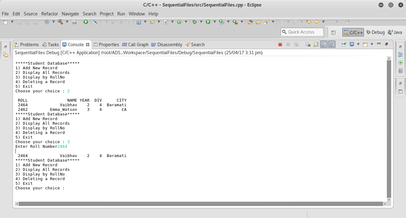 C++ Program to implement Student database using sequential files