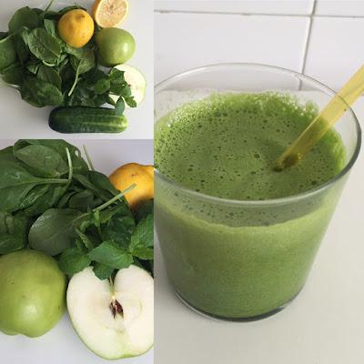 Receta de zumo verde, verduras y frutas.
