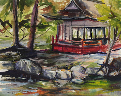 A watercolor of a teahouse and pond at Sonnenberg Gardens, Canandaigua NY.