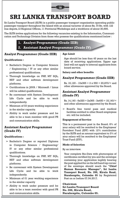 Sri Lankan Government Job Vacancies at Sri Lanka Transport Board for Analyst Programmer, Assistant Analyst Programmer