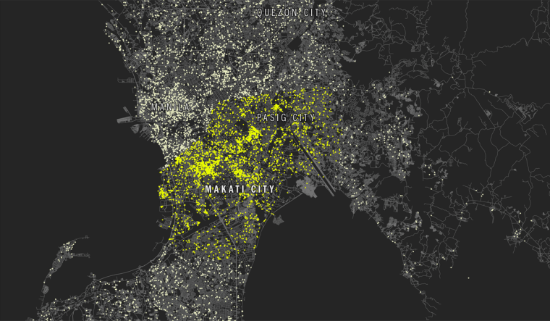 """Selfie Capital of the World."" A map of Makati and Pasig cities. Each yellow dot in the map represents one selfie taken recently over the course of a ten-day period."