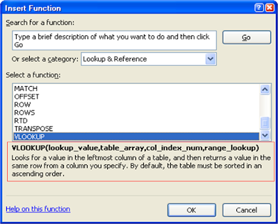 Belajar Excel - Insert Function Window