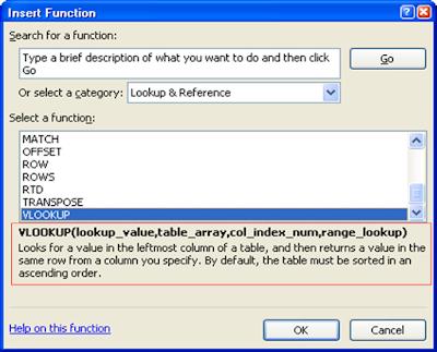 Belajar Excel - Insert Function Window
