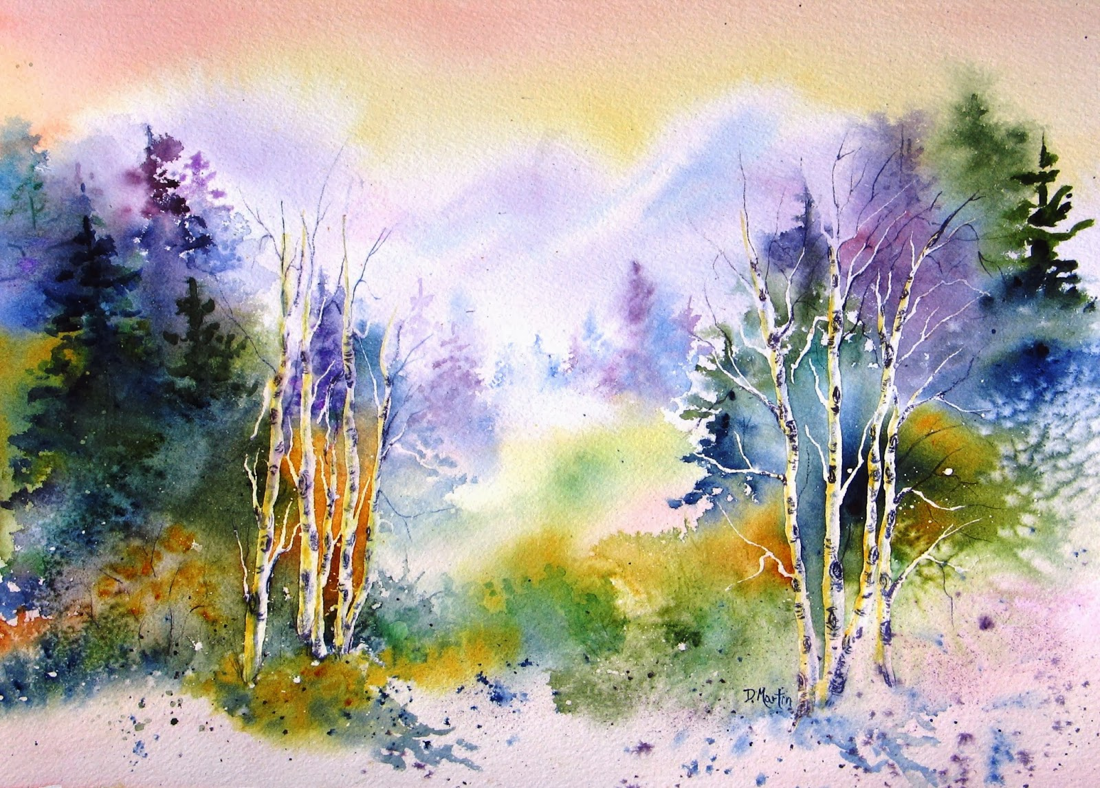 Watercolor landscape painting aspen morning by international watercolor artist donna l martin