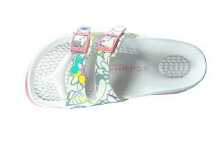 California Footwear Company's Del Mar White Grey Floral Sandal.jpeg