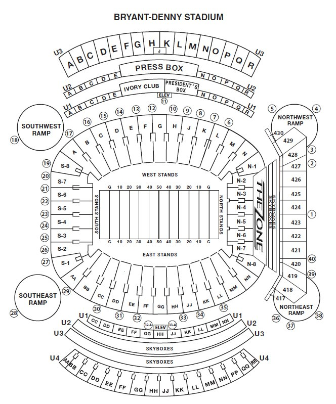 Bryant Denny Stadium Seat Views SeatGeek - bryant denny seating chart