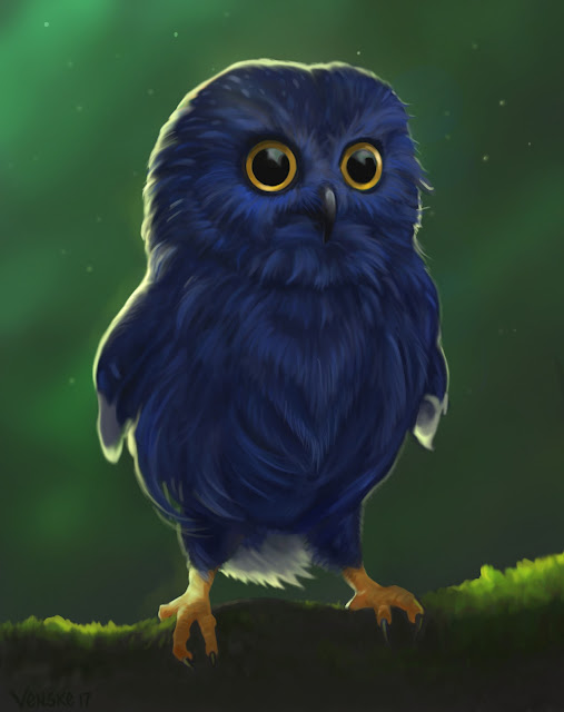 Bucky the baby blue owl- Photoshop CC 2017
