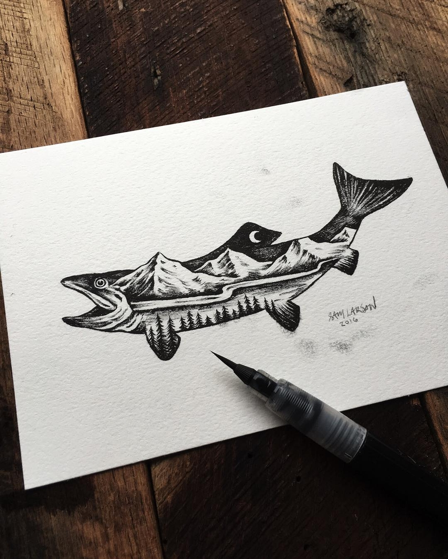 06-Fish-Landscape-Sam-Larson-Injection-of-Inspiration-in-Diverse-Drawings-www-designstack-co